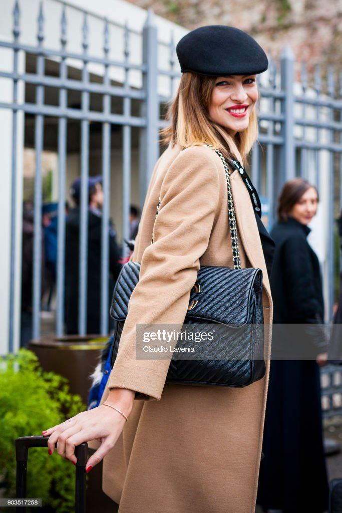 Cristina Chiabotto is seen during the 93. Pitti Immagine Uomo at Fortezza Da Basso on January 10, 2018 in Florence, Italy.