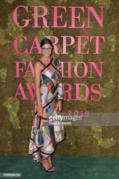 Cristina Chiabotto, wearing Laura Biagiotti, attends The Green Carpet Fashion Awards Italia 2018 at Teatro Alla Scala on September 23, 2018 in Milan,...