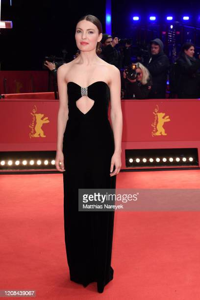 """Cristina Chiriac poses at the """"Siberia"""" premiere during the 70th Berlinale International Film Festival Berlin at Berlinale Palace on February 24,..."""
