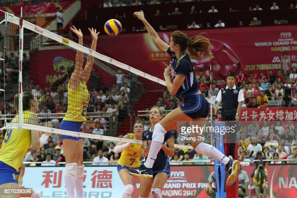 Cristina Chirichella of Italy in action during the final match between Brazil and Italy during 2017 Nanjing FIVB World Grand Prix Finals on August 6...