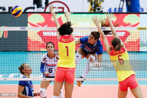 Cristina Chirichella of Italy spikes during 2017 Nanjing FIVB World Grand Prix Finals between China and Italy on August 5 2017 in Nanjing China