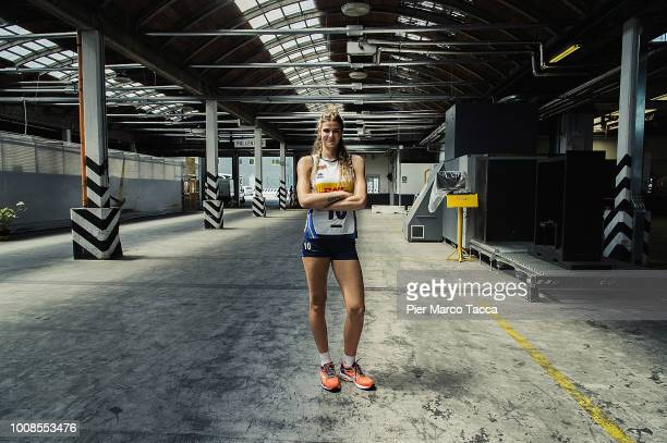 Cristina Chirichella of the Italian National Women's Volleyball Team poses during the DHL Italy Men Women Volleyball Team meeting at Malpensa Airport...