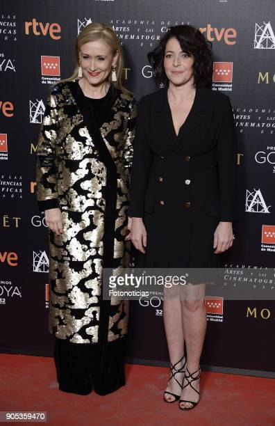 Cristina Cifuentes and Nora Navas attend the 32nd Goya Awards Candidates Meeting at the Real Casa de Correos on January 15 2018 in Madrid Spain