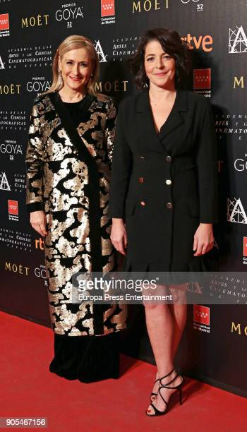 Cristina Cifuentes and Nora Navas attend the Goya cinema awards candidates 2018 meeting at Casa de Correos on January 15 2018 in Madrid Spain