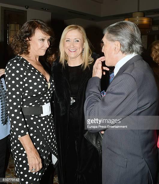 Cristina Cifuentes Maria Angeles Grajal and Jaime Ostos attend 'La Maja de Goya' Bullfighting Awards 2016 at La Masia de Jose Luis Restaurant on...