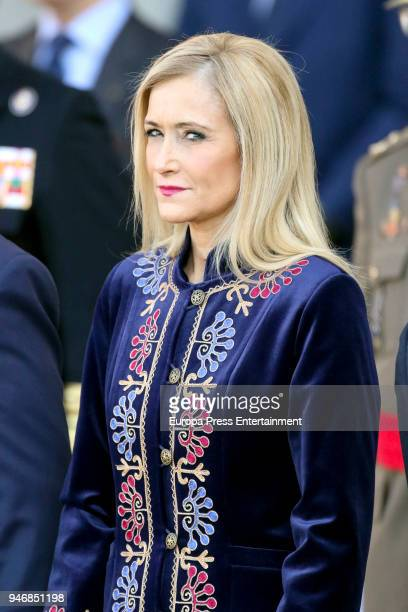 Cristina Cifuentes receives president of Portugal Marcelo Rebelo de Sousa on April 16 2018 in Madrid Spain