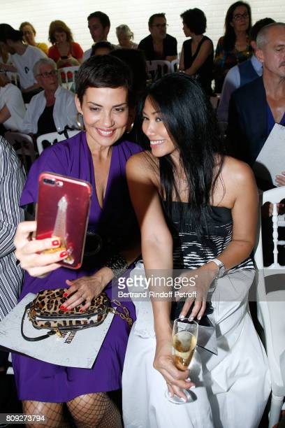 Cristina Cordula and Anggun attend the Jean Paul Gaultier Haute Couture Fall/Winter 20172018 show as part of Haute Couture Paris Fashion Week on July...