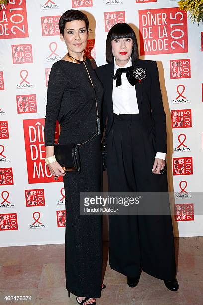 Cristina Cordula and Chantal Thomass attend the Sidaction Gala Dinner 2015 at Pavillon d'Armenonville on January 29 2015 in Paris France