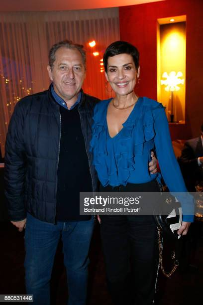 Cristina Cordula and her husband Frederic Cassin attend the Inauguration of the 'Chalet Les Neiges 1850' on the terrace of the Hotel 'Barriere Le...