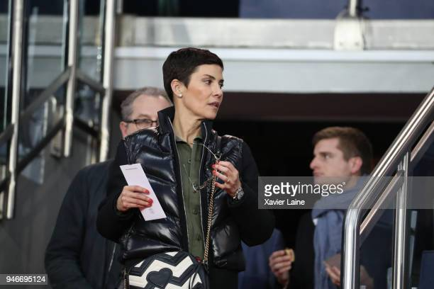 Cristina Cordula attends the Ligue 1 match between Paris Saint Germain and AS Monaco at Parc des Princes on April 15 2018 in Paris