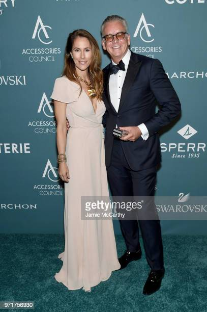 Cristina Cuomo and David Ruddick pose backstage at the 22nd Annual Accessories Council ACE Awards at Cipriani 42nd Street on June 11 2018 in New York...