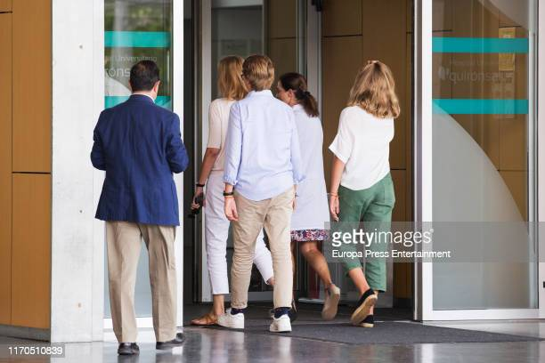 Cristina de Borbón Irene Urdangarín and Miguel Urdangarín are seen arriving to visit his father King Juan Carlos at Quiron Hospital on August 26 2019...