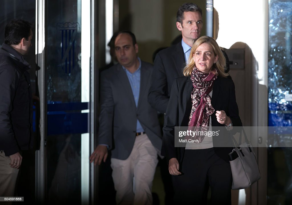 Cristina de Borbon and her husband Inaki Urdangarin leave the courtroom at the Balearic School of Public Administration for summary proceedings on January 11, 2016 in Palma de Mallorca, Spain. Princess Cristina of Spain, sister of King Felipe VI of Spain, faces a tax fraud trial over alleged links to business dealings of her husband, Inaki Urdangarin Princess Cristina co-owned with her husband a company called Aizoon alleged to be one of the companies used by the non-profit foundation named 'Instituto NOOS', headed by Inaki Urdangarin to misuse 5.6 million euro of public funds which were allocated to organise sports and tourism events.