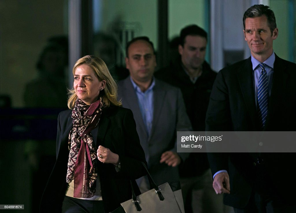 Cristina de Borbon and her husband Inaki Urdangarin (R) leave the courtroom at the Balearic School of Public Administration for summary proceedings on January 11, 2016 in Palma de Mallorca, Spain. Princess Cristina of Spain, sister of King Felipe VI of Spain, faces a tax fraud trial over alleged links to business dealings of her husband, Inaki Urdangarin Princess Cristina co-owned with her husband a company called Aizoon alleged to be one of the companies used by the non-profit foundation named 'Instituto NOOS', headed by Inaki Urdangarin to misuse 5.6 million euro of public funds which were allocated to organise sports and tourism events.