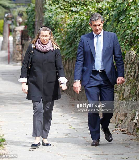 Cristina de Borbon Dos Sicilias and Pedro Lopez Quesada express their condolences to Marichalar family on March 14 2014 in Madrid Spain Princess...