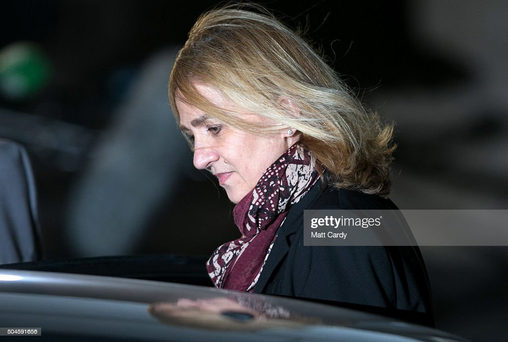 Cristina de Borbon leaves the courtroom at the Balearic School of Public Administration for summary proceedings on January 11, 2016 in Palma de Mallorca, Spain. Princess Cristina of Spain, sister of King Felipe VI of Spain, faces a tax fraud trial over alleged links to business dealings of her husband, Inaki Urdangarin Princess Cristina co-owned with her husband a company called Aizoon alleged to be one of the companies used by the non-profit foundation named 'Instituto NOOS', headed by Inaki Urdangarin to misuse 5.6 million euro of public funds which were allocated to organise sports and tourism events.