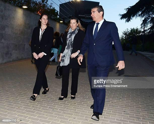 Cristina de Borbon-Dos Sicilias and Pedro Lopez de Quesada attend the funeral chapel for Prince Kardam of Bulgaria on April 7, 2015 in Madrid, Spain.