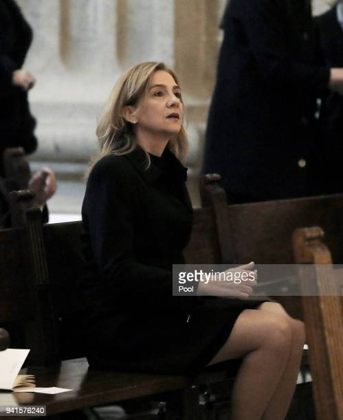 Cristina de Bourbon attend a Mass marking the 25th anniversary of death of Conde de Barcelona father of King Juan Carlos at San Lorenzo del Escorial...