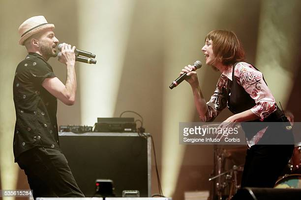 Cristina Donà with Samuel Umberto Romano said Samuel of Italian rock band Subsonica perform live for Wired Next Fest at Giardini Indro Montanelli in...