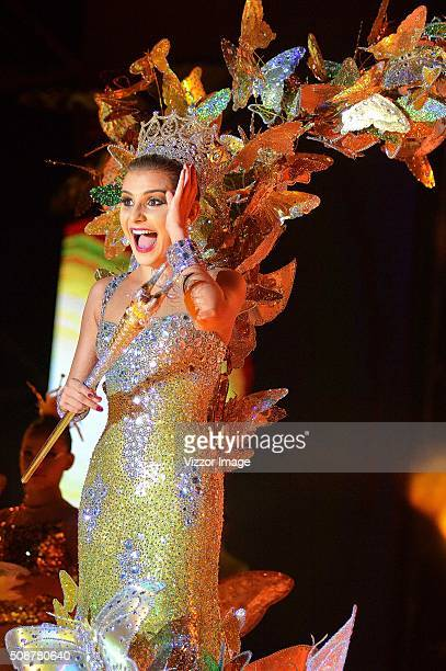 Cristina Felfle, the Queen of the Carnival of Barranquilla 2016 performs at the stage with a design of Alfredo Barraza called 'Macondo', in honor of...