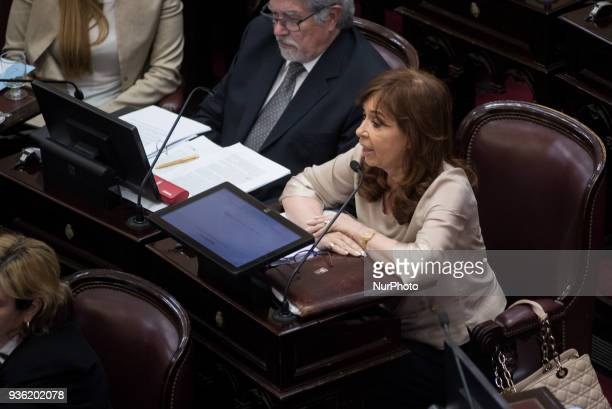 Cristina Fernandez de Kirchner Former President of the Argentine Nation and Senator For Buenos Aires Unidad Ciudadana at Argentine Parliament in...