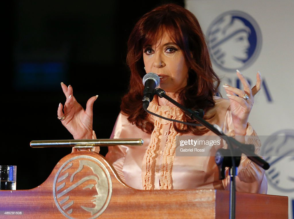 Cristina Fernandez de Kirchner President of Argentina speaks during a ceremony commemorating the 161st anniversary of the Buenos Aires Stock Exchange on August 26, 2015 in Buenos Aires, Argentina.