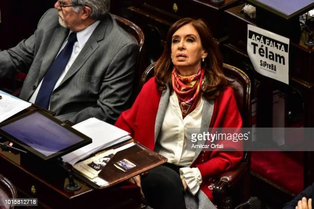 Cristina Fernandez de Kirchner Senator for Santa Cruz gestures while senators vote for the new abortion law on August 8 2018 in Buenos Aires...