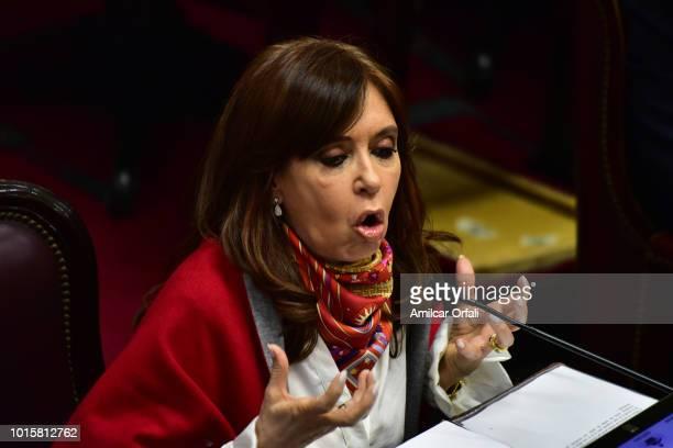 Cristina Fernandez de Kirchner Senator for Santa Cruz speaks while senators vote for the new abortion law on August 8 2018 in Buenos Aires Argentina...