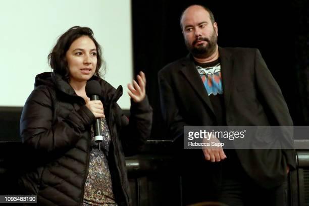Cristina Gallego and Ciro Guerra of 'Birds of Passage' speak at a screening of 'Birds of Passage' during the 34th Santa Barbara International Film...