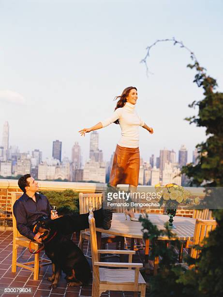 cristina greeven cuomo at home: on the terrace with christopher - cuomo stock pictures, royalty-free photos & images