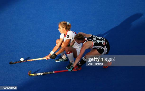 Cristina Guinea of Spain and Maike Schaunig of Germany in action during the quarter final game between Germany and Spain of the FIH Womens Hockey...