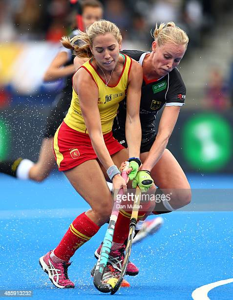 Cristina Guinea of Spain battles for the ball with Hannah Kruger of Germany during the EuroHockey Womens Bronze Medal match between Germany and Spain...