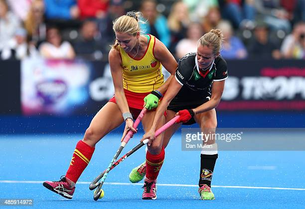 Cristina Guinea of Spain battles for the ball with Jana Teschke of Germany during the EuroHockey Womens Bronze Medal match between Germany and Spain...