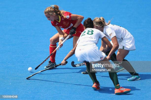 Cristina Guinea of Spain battles with Simone Gouws of South Africa and Quanita Bobbs of South Africa during the Pool C game between Spain and South...