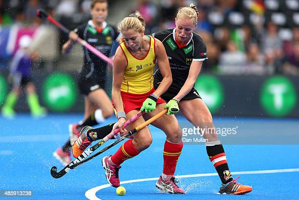 Cristina Guinea of Spain holds off Hannah Kruger of Germany during the EuroHockey Womens Bronze Medal match between Germany and Spain at Lee Valley...