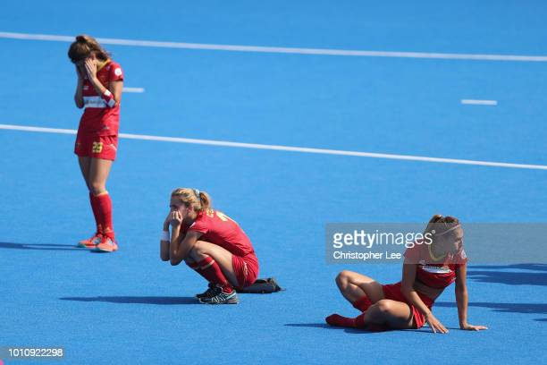 Cristina Guinea of Spain with Lucia Jimenez of Spain and Xantal Gine of Spain look dejected during the shoot out during the SemiFinal game between...