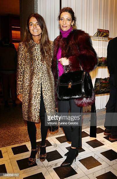 Cristina Lucchini and Marpessa Hennink attend Valentino Cocktail Party as part of Milan Fashion Week Menswear Autumn/Winter 2013 on January 12 2013...