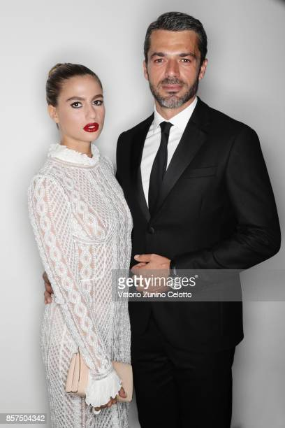 Cristina Marino and Luca Argentero pose for a portrait during amfAR Gala Milano on September 21 2017 in Milan Italy