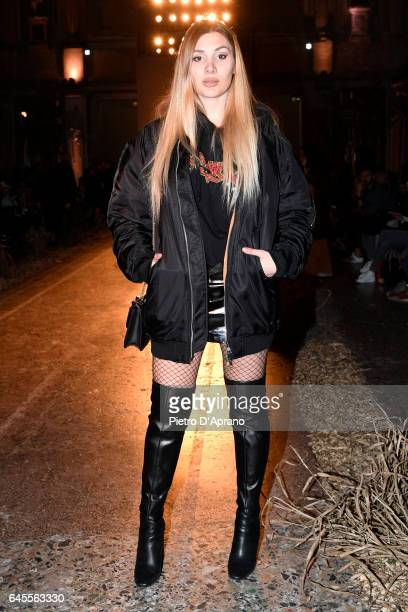 Cristina Musacchio attends the Au Jour Le Jour show during Milan Fashion Week Fall/Winter 2017/18 on February 26 2017 in Milan Italy