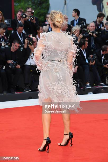 Cristina Musacchio dress detail walks the red carpet ahead of the 'A Star Is Born' screening during the 75th Venice Film Festival at Sala Grande on...
