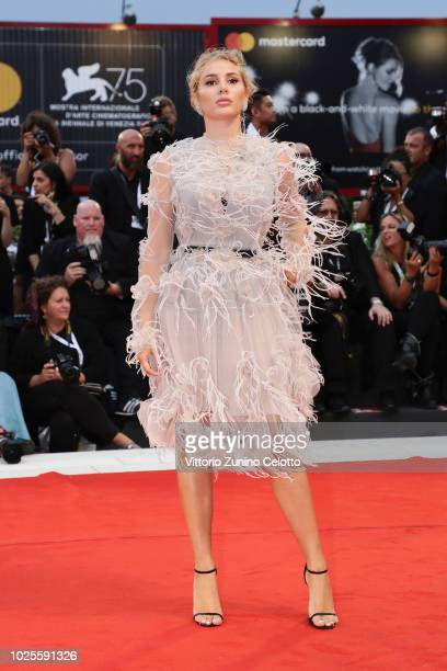 Cristina Musacchio walks the red carpet ahead of the 'A Star Is Born' screening during the 75th Venice Film Festival at Sala Grande on August 31 2018...