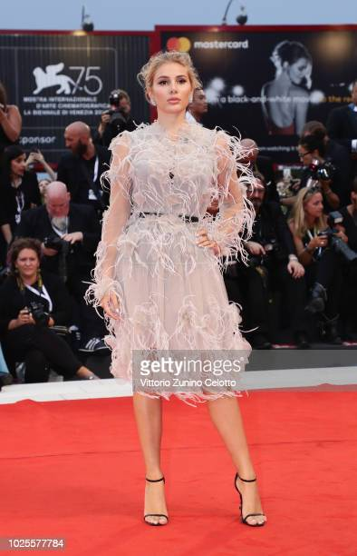 Cristina Musacchio walks the red carpet ahead of the 'Doubles Vies ' screening during the 75th Venice Film Festival at Sala Grande on August 31 2018...