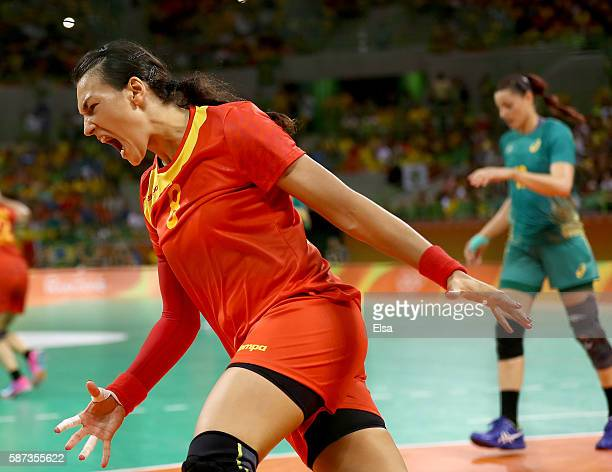 Cristina Neagu of Romania celebrates her goal in the first half against Brazil on Day 3 of the Rio 2016 Olympic Games at the Future Arena on August...