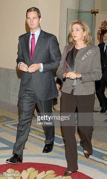 Cristina of Spain and husband I¤aki Urdangarin during Spanish Royals Attend the National Sports Awards Ceremony December 19 2005 at El Pardo Palace...