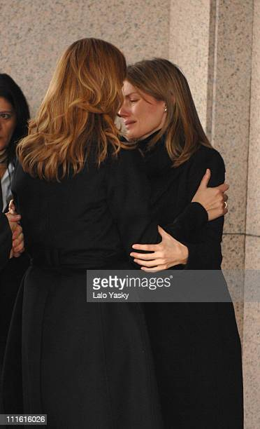 Cristina of Spain and Princess Letizia during Erika Ortiz Funeral February 8 2007 at Tres Cantos Cemetry in Madrid Spain