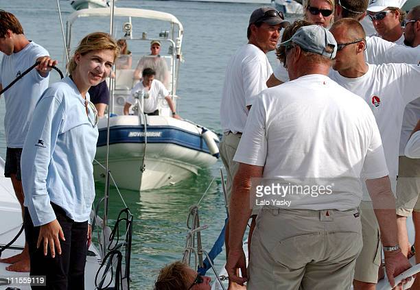 Cristina of Spain chats with King Harald of Norway