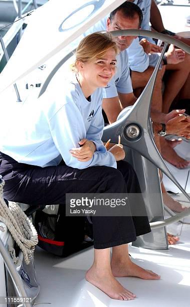 Cristina of Spain during King Juan Carlos King Herald and Prince Felipe sail at the Regata Breitling at Regata Breitling in Palma De Mallorca...