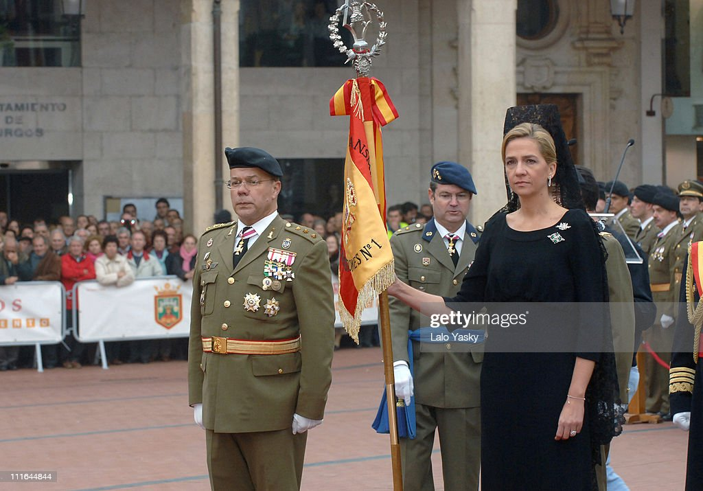 Cristina of Spain Presides over a Military Flag Ceremony, Dressed in a Traditional Black Spanish Dress, at the Plaza Mayor in Burgos, Spain on November 13, 2006.