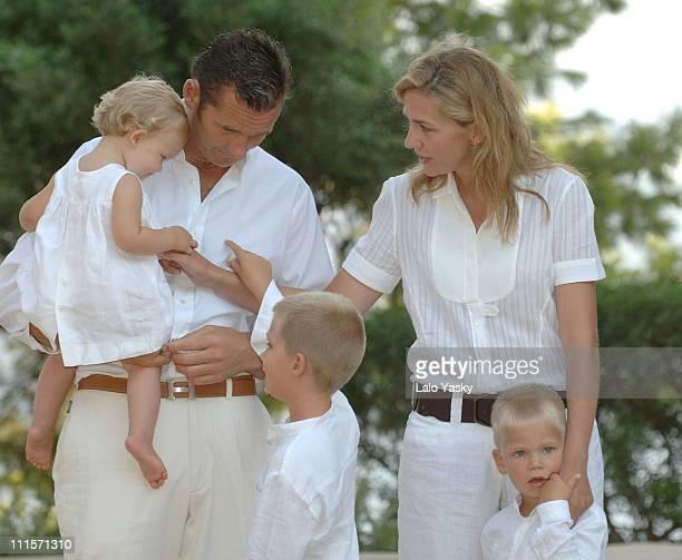 Cristina of SpainHusband Inaki Urdangarin and sons Juan Valetin Pablo NicolasMiguel and Irene