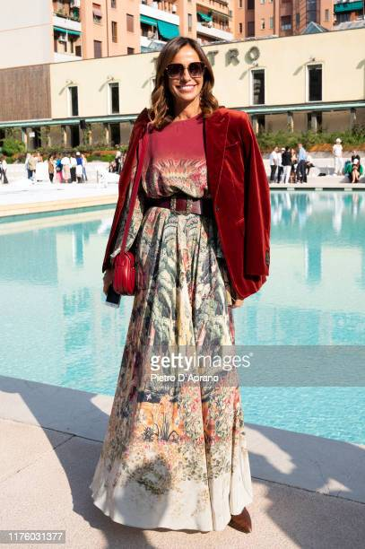 Cristina Parodi attends the Iceberg fashion show during the Milan Fashion Week Spring/Summer 2020 on September 20 2019 in Milan Italy
